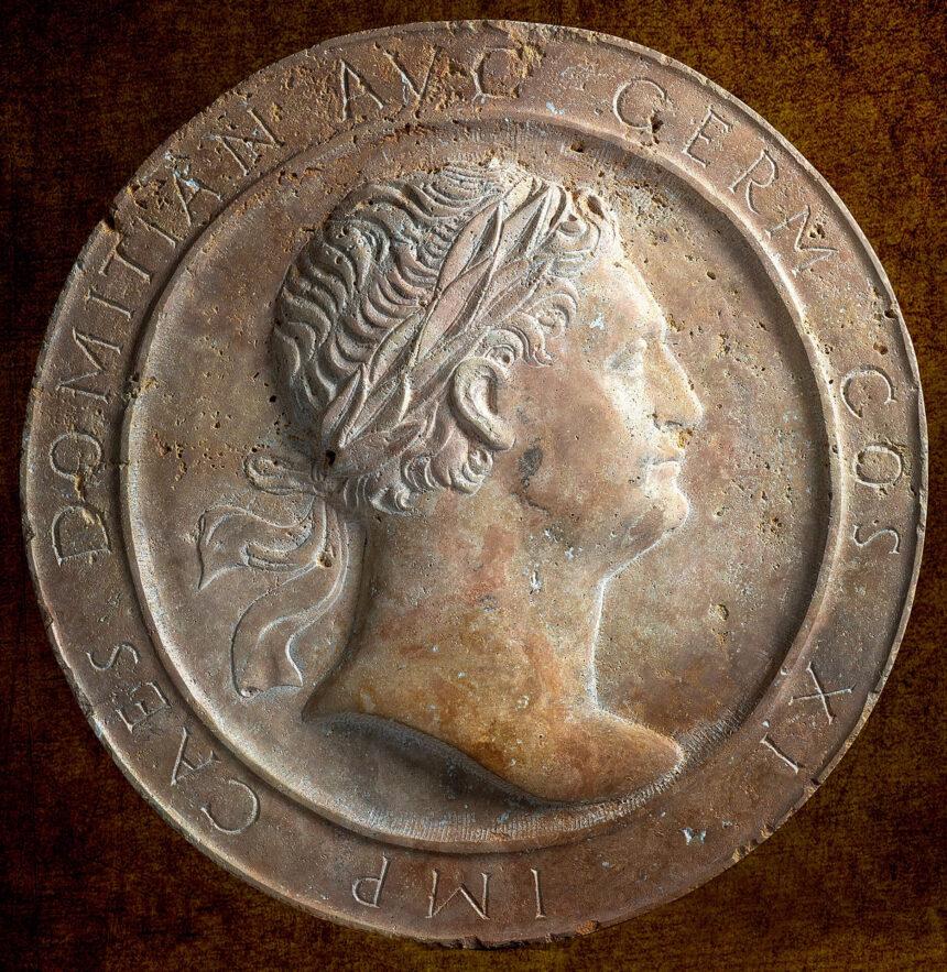 Medallón, travertino, hecho a mano, piedra
