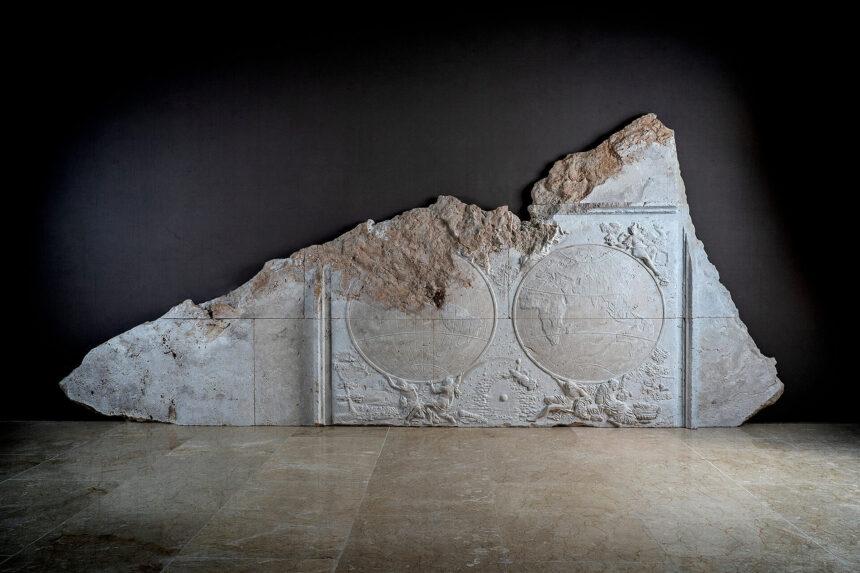 relieve, escultura, cartografía, travertino, atlas, cartógrafo, jaillot, mármol, piedra, relieve-royal, alegoría, europa, asia, áfrica, américa