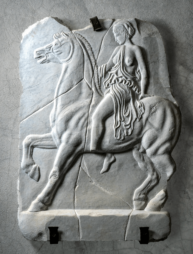 amazona, amazonomaquia, relieve, clásico, griego, templo, friso, mujeres, guerrera, mármol