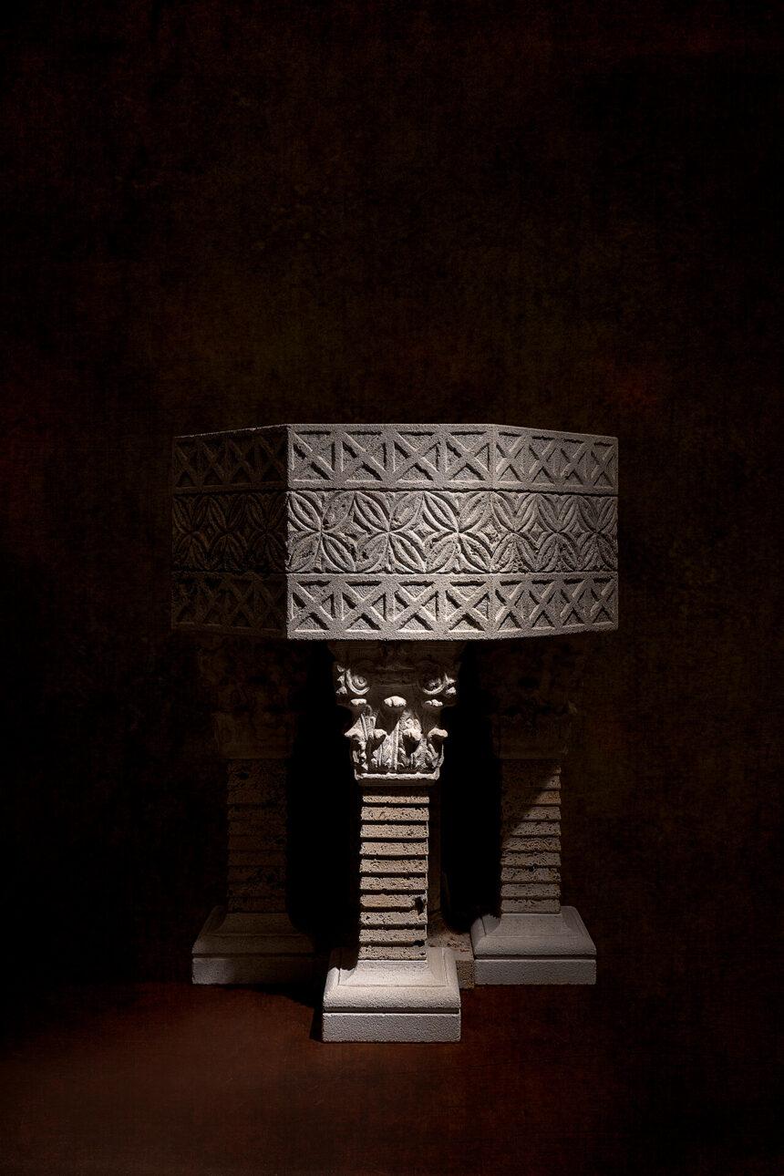 pila, piedra, crema, arte, jardín,- exterior, visigodo, octogonal, simbolismo