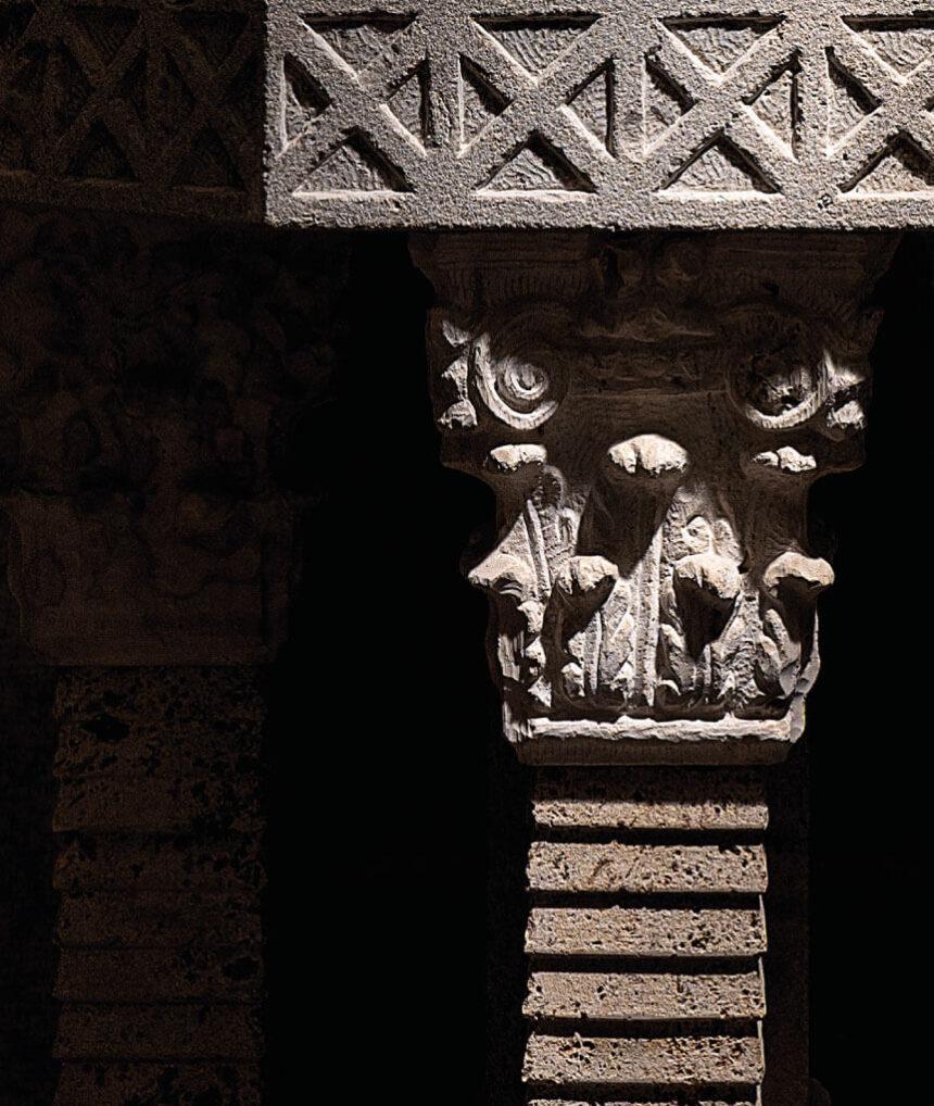 travertino, piedra, crema, arte, jardín,- exterior, visigodo, octogonal, simbolismo
