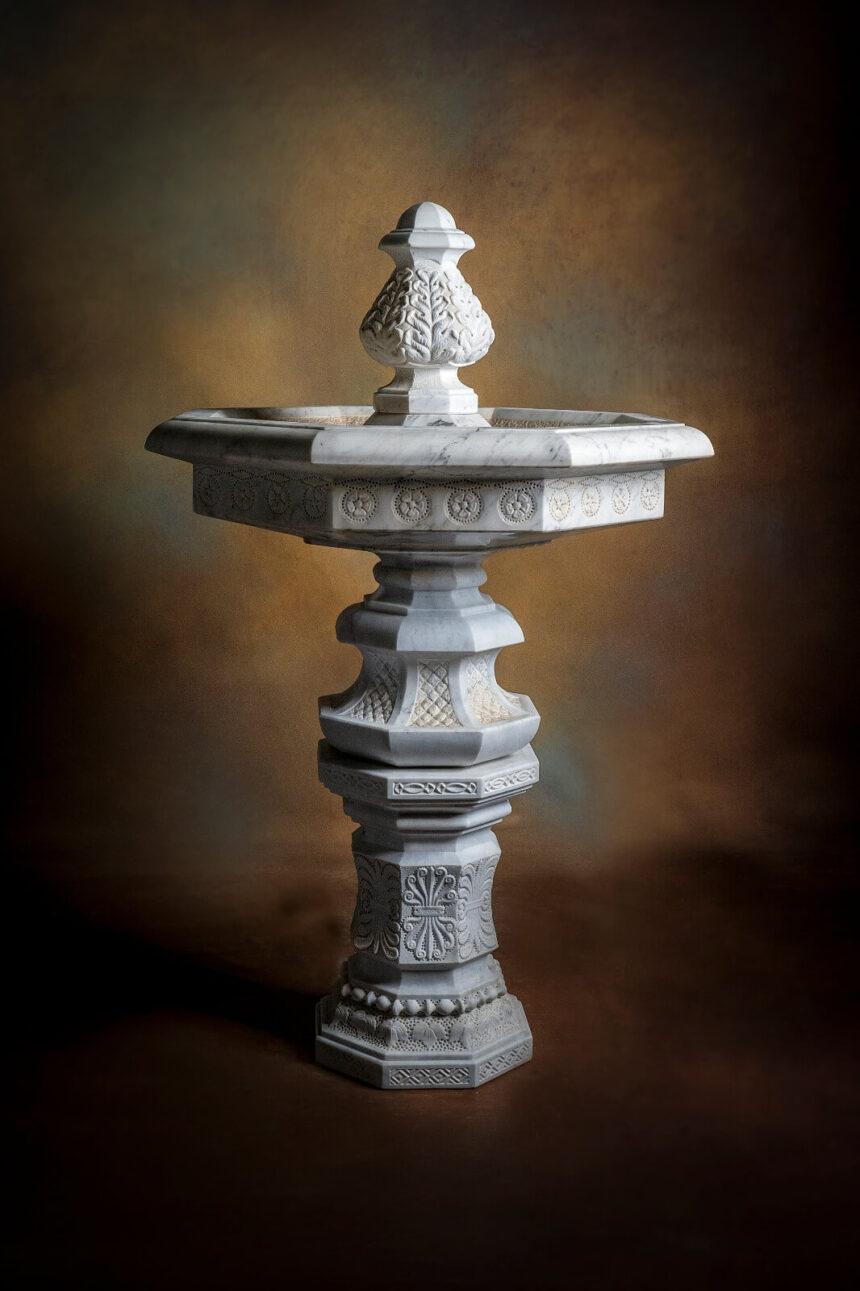 Mármol, piedra, travertino, fuente, pila, estanque, jardín, exterior, carrara